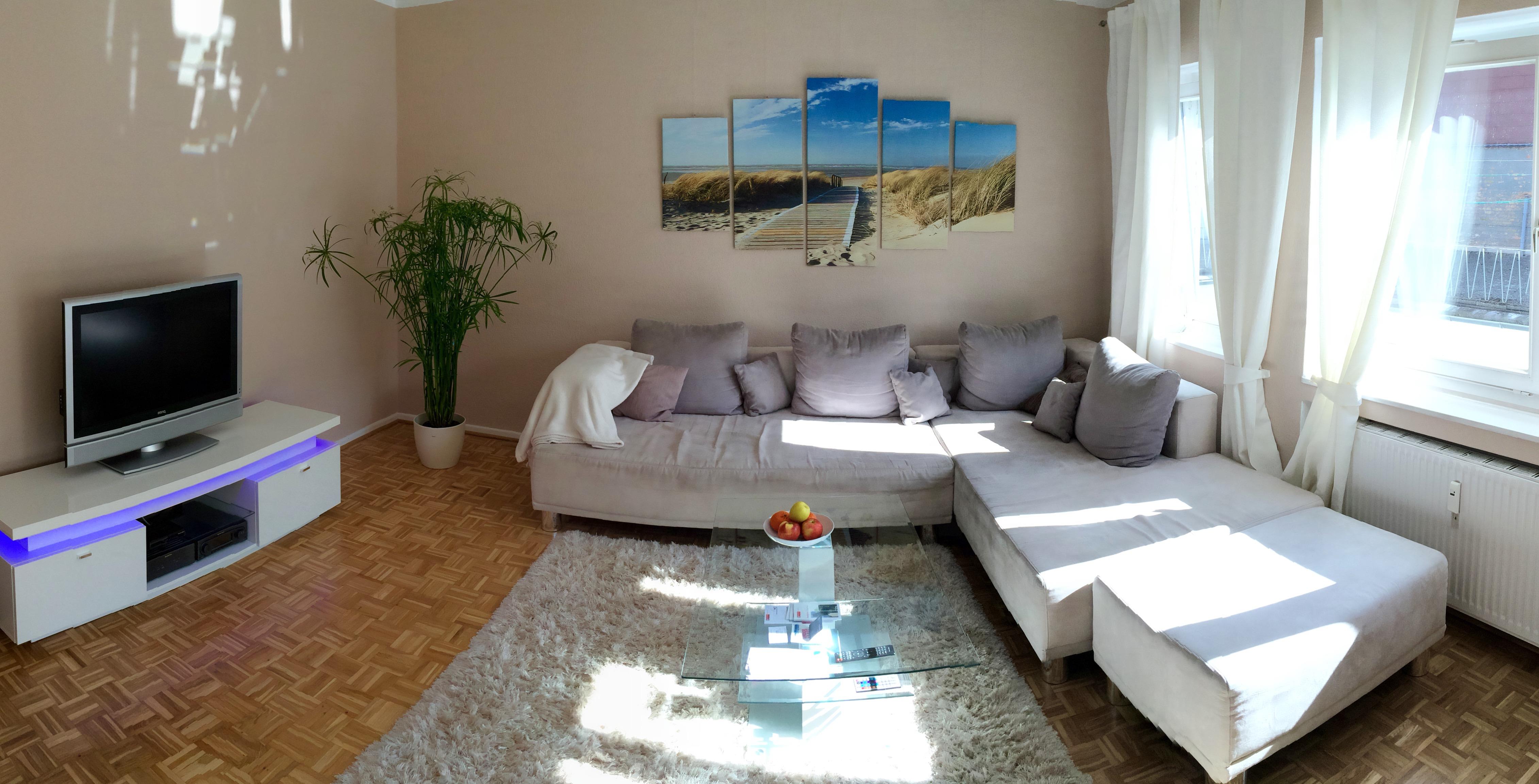 Wohnzimmer mit großer Couch, die sich auch in ein Bett verwandeln kann.